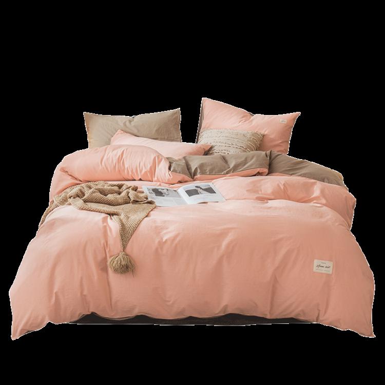 网红款水洗棉四件套 纯棉被套 简约床单床笠