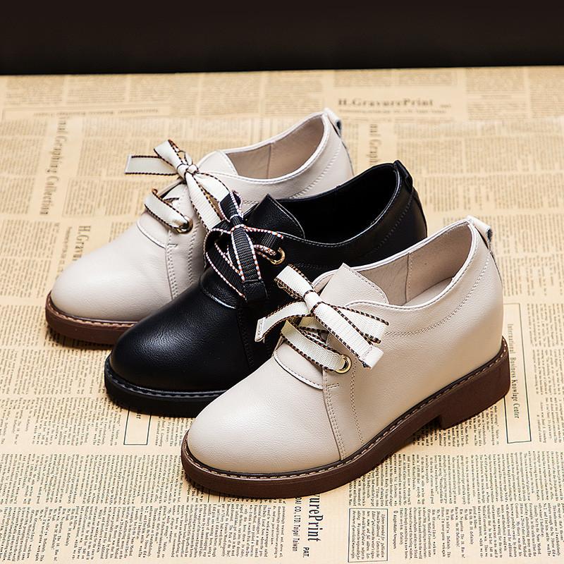 2020春季新款女皮鞋 内增高女鞋 坡跟 英伦风