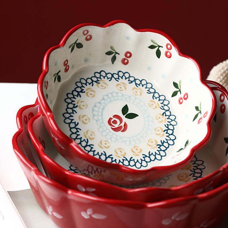京樱日式餐具面碗樱桃碗  网红ins风 创意个性家用